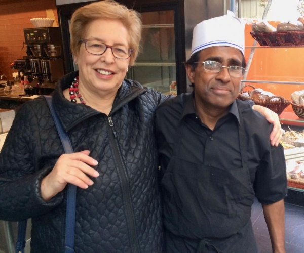 Inside, Island historian Judy Berdy welcomed back Trellis's popular counterman Ali Islam