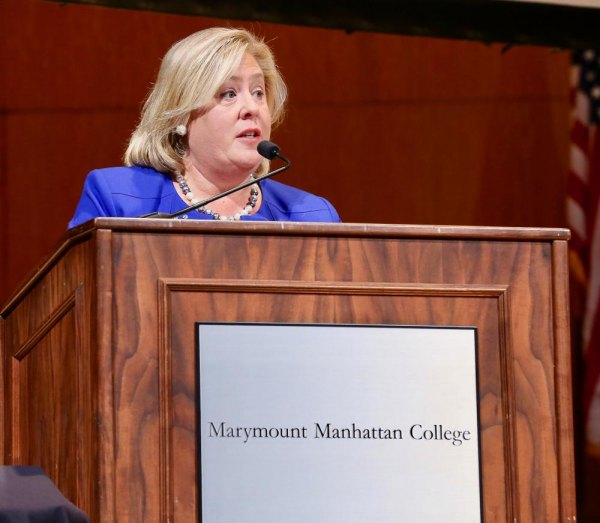 Rebecca Seawright speaking at Manhattan Marymount College