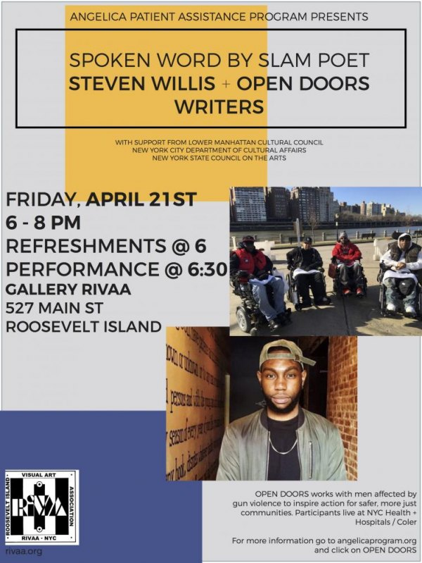 April 21st, Poetry Slam with Steven Willis & the Open Doors Workshop