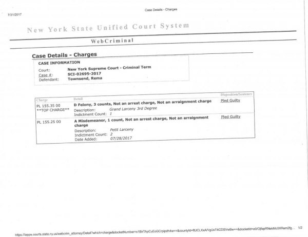 NYS Supreme Court - Criminal Division records showing Rema Townsend's guilty plea to three Class D Felonies and one Misdemeanor.