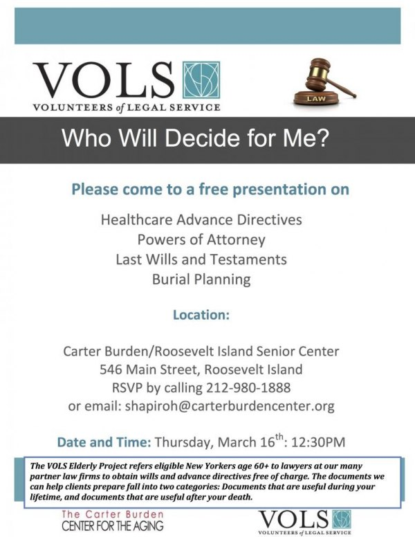 March 16th, VOLS: Free Legal Advice at the Carter Burden/Roosevelt Island Senior Center