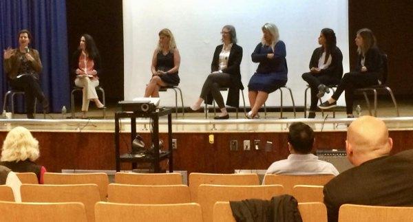 Left to right: Diane Levvitt, Sr. Dir. K-12 Education at Cornell; PS/IS Principal Mandana Beckman; PTA President Erin Olavesen; Meg Ray, Teacher in Residence