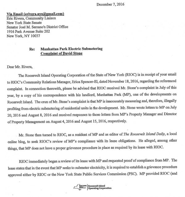 Memo from RIOC President/CEO Susan Rosenthal misstates facts and scrambles dates, shielding Manhattan Park - and itself - from responsibility.