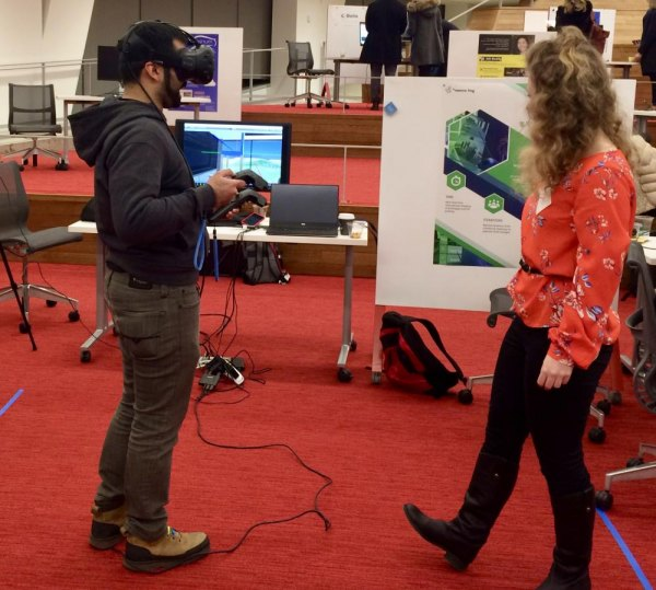 Virtual reality demonstration during first Open Studio at the Roosevelt Island Cornell Tech campus