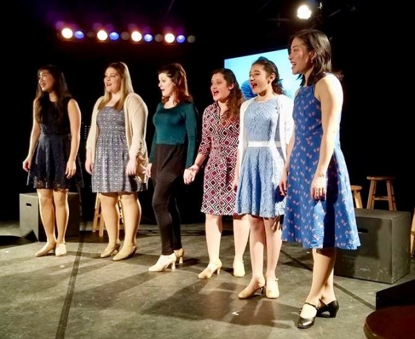 "In performance: ""Something's Coming"" with (left to right) Helen Chen, Emily Carpenter, Carman Napier, Kaitlyn Abdul, Madison Abdul, Aya Esther Hayashi"
