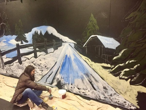 "RIVAA artist Laura Hussey creates scenery for ""Almost Maine,"" collaborating with Main Street Theatre & Dance Alliance."