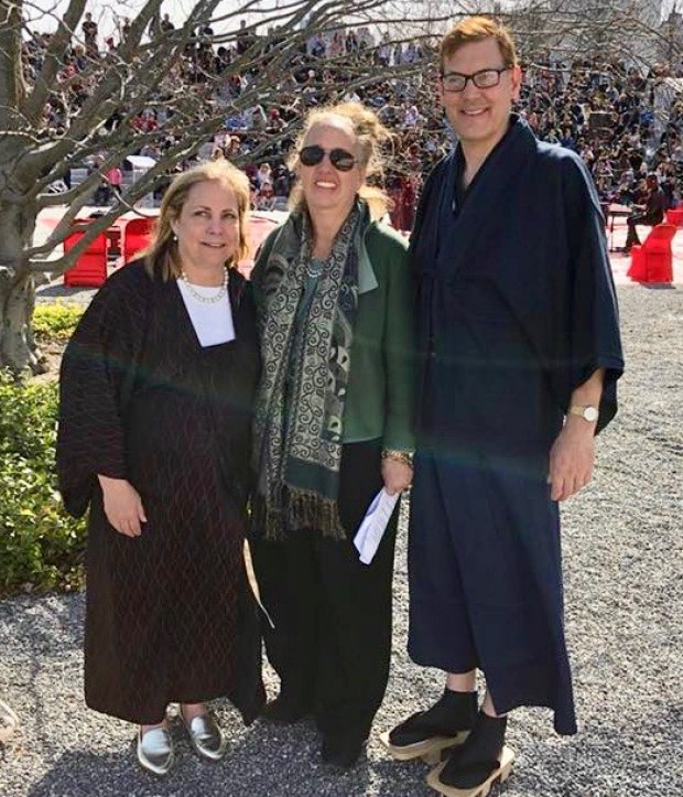 Lynne Strong-Shinozaki (L) with Manhattan Borough President Gale Brewer and Orphans International Worldwide Founder Jim Luce at the 2018 Cherry Blossom Festival.