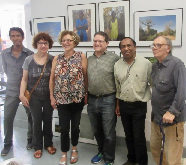 Bruno Razafindrakoto (second from right) and Mino R. Razafimpamonjy (left) from NY Valiha pose with the support team from Gallery RIVAA, including Esther Piaskowski Cohen (second from left) and Valeriu (Bobo) Boborelu (right)